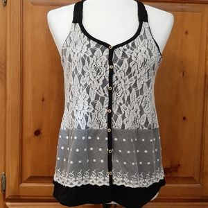 Tank with Lace Front Overlay